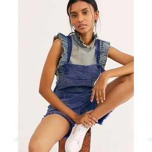 NEW Free People Feel The Love Cut Off Shortalls